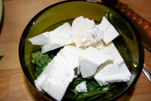 Mix Feta and Spinach together for easier stuffing!